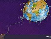 كاريكاتير صحيفة سعودية.. فيروس كورونا يهيمن على العالم