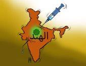 كاريكاتير صحيفة إماراتية يرصد أزمة الهند فى ظل كورونا