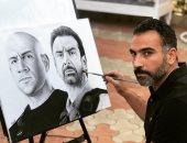 رياضى بموهبة وروح فنان.. أحمد رسم بورتريهات بالفحم لأبطال الاختيار 2