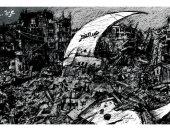 غزة تستقبل عيد الفطر بعنف القصف الإسرائيلى فى كاريكاتير سعودى