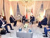 الرئيس السيسى يلتقى بمقر إقامته فى باريس رئيس وزراء البرتغال