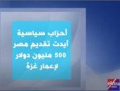 """""""إكسترا نيوز"""" تعرض تقريرا عن قوى سياسية أيدت تقديم مصر 500 مليون دولار لإعمار غزة"""