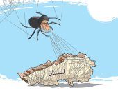 """لبنان محاصر بين خطوط عنكبوت """"حزب الله"""" في كاريكاتير سعودي"""