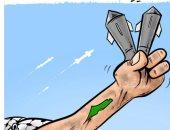 """""""علامة النصر"""" ترتفع مع سريان وقف إطلاق النار فى كاريكاتير أردنى"""