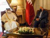 وزير الخارجية يستقبل نظيره القطرى فى مقر الوزارة بقصر التحرير وبدء المباحثات