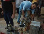 """مصادرة """"شيش"""" من المقاهى وغلق المحلات المخالفة فى حملات بالوراق والصف.. صور"""