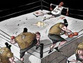 الأزمات تطيح بلبنان فى كاريكاتير سعودى