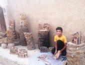 """أصغر نحات فى الواحات إيده تتلف فى حرير.. محمد يصنع من جذوع النخيل بيوت """"لايف"""""""