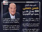 """ذكرى ميلاد الراحل حسن حسنى.. 500 عمل فنى رصيد أبو الكوميديا """"إنفوجراف"""""""