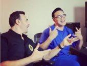 """صابر الرباعى والموزع ريدوان في كواليس تصوير أغنية """"السهرة صباحى"""".. فيديو وصور"""