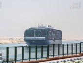 """السفينة """"إيفرجيفن"""" تعبُر قناة السويس فى اتجاهها إلى محافظة السويس"""