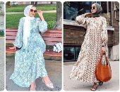 أزياء محجبات.. أفكار لتنسيق الفساتين الماكسي الفلورى مع الحجاب فى العيد