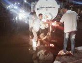 أعمال إصلاح انفجار خط الطرد بشارع القدس الشريف فى مدينة بورفؤاد.. صور