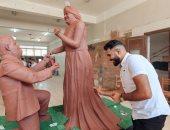 """""""رفيق"""" نحت تمثال رومانسى لأصحاب متلازمة داون عشان يطالب بحقهم في الحياة"""