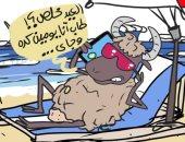 خروف العيد في إجازة بعد انتهاء عيد الأضحى.. في كاريكاتير اليوم السابع