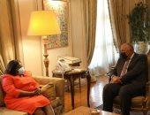 سامح شكرى يبحث مع وزيرة خارجية جنوب السودان قضية سد النهضة