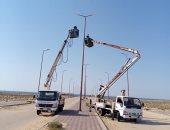 تنفيذ أعمال إنارة لمسار طرق رئيسية وفرعية بمناطق بئر العبد بشمال سيناء