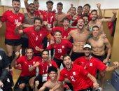 """أحمد حجازي يحتفل مع لاعبي الأولمبي بالفوز على استراليا: """"مبروك يا رجاله مصر"""""""