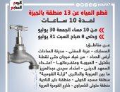 قطع المياه غدا عن 13 منطقة بالجيزة لمدة 10 ساعات.. إنفوجراف