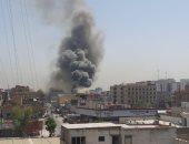اندلاع حريق كبير فى مخزن تجارى بمنطقة السعدون وسط العاصمة العراقية بغداد