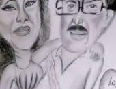 رامي رضوان يودع الراحلين سمير غانم ودلال عبد العزيز برسمة كاريكاتيرية