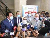 وزيرا التعليم العالى والصحة ورئيس جامعة القاهرة يتفقدون مراكز تطعيم الطلاب بلقاح كورونا
