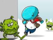 العالم يقع فى فخ متحورات فيروس كورونا فى كاريكاتير اليوم