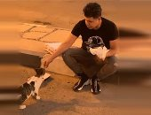 """عمر كمال يطعم قطة فى الشارع: جايز تكون سبب دخولى الجنة """"صورة"""""""