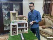 الفرعون الصغير جاهز للاحتفال.. مهندس مصرى يشيد أصغر منزل بالخامات الطبيعية.. فيديو