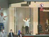 شاهد فرحة حسين لبيب بهدف يحيى الدرع القاتل للزمالك فى شباك الأهلى