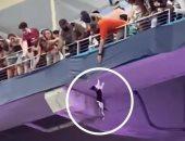 مشجعا كرة قدم ينقذان قطة سقطت من منصة بملعب فى ولاية فلوريدا.. فيديو
