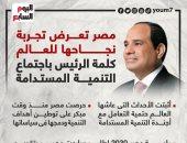 مصر تعرض تجربة نجاحها للعالم.. كلمة الرئيس باجتماع التنمية المستدامة (إنفوجراف)
