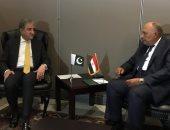 سامح شكرى يبحث مع نظيره الباكستانى القضايا الدولية محل الاهتمام المشترك