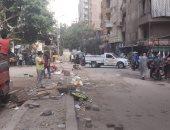 حى بولاق الدكرور يزيل إشغالات شارع الثلاثينى ويغلق المحلات المخالفة
