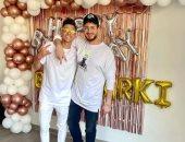أشرف بن شرقى فى صورة جديدة من الاحتفال بعيد ميلاده مع سعد لمجرد