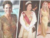 بعد تألق كيت ميدلتون.. شاهدى أبرز إطلالات الأميرات باللون الذهبى الأنيق
