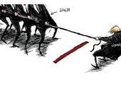 """كاريكاتير اليوم.. جونسون فى """"صراع مع الأزمات"""""""