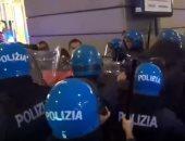 احتجاجات فى روما ضد شهادات كورونا والشرطة تستخدم الغاز المسيل للدموع.. فيديو
