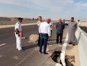 محافظ بنى سويف يوجه بسرعة إصلاح هبوط مفاجئ محدود على الطريق الصحراوى الغربى