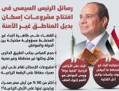 رسائل الرئيس السيسى فى افتتاح مشروعات إسكان بديل المناطق غير الآمنة.. إنفوجراف
