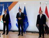 الرئيس السيسى يلتقط صورا تذكارية مع رئيس قبرص ورئيس وزراء اليونان قبل القمة
