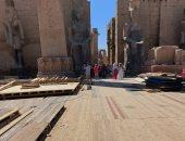 شاهد تجهيزات عروض وبروفات حفل افتتاح طريق الكباش الفرعونى بمعبد الأقصر