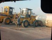 """انقلاب سيارة نقل """"فنطاس"""" بطريق إسكندرية الصحراوي .. صور"""