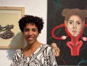 """""""آخر لحظات الأمان"""" عمل للفنانة التشكيلية سارة طارق بمركز محمود مختار"""