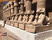 """""""اليوم السابع"""" ينشر 25 صورة حصرية من داخل مشروع ترميم 48 كبشا بمعابد الكرنك"""