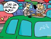 كاريكاتير كويتى يسلط الضوء على الزحام المرورى