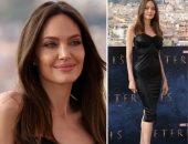 """أنجلينا جولي تخطف الأنظار بفستان أسود من الجلد في العرض الأول لفيلم """"Eternals"""""""