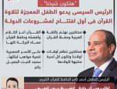 """""""هتكون شيخنا"""".. الرئيس السيسى يدعو الطفل المعجزة لتلاوة القرآن فى أول افتتاح (إنفوجراف)"""