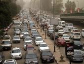 زحام مرورى فى شوارع ومحاور محافظتى القاهرة والجيزة