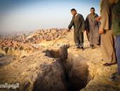 انهيار جزئى فى صخور بجبل المقطم أعلى منشأة ناصر